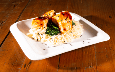 Asian Salmon, Spinach and Rice